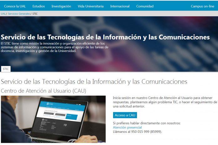 Nueva página web del Servicio TIC de la UAL